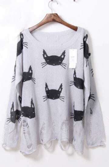 Light Grey Long Sleeve Cats Print Ripped Sheer Sweater