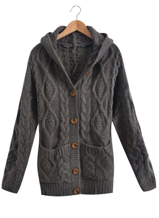 Dark Grey Hooded Long Sleeve Cardigan Sweater Coat -SheIn(Sheinside)
