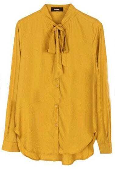 Yellow High Neck Long Sleeve Bow Buttons Blouse