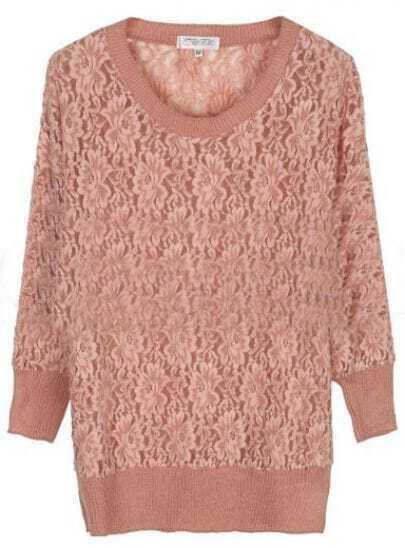 Pink Round Neck Long Sleeve Hollow Lace Blouse