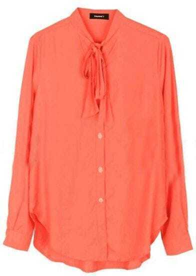 Red High Neck Long Sleeve Bow Buttons Blouse