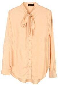 Pink High Neck Long Sleeve Bow Buttons Blouse