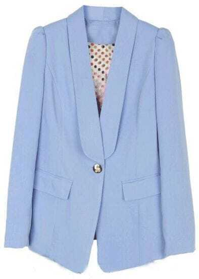 Light Blue Lapel Long Sleeve Pockets Suit