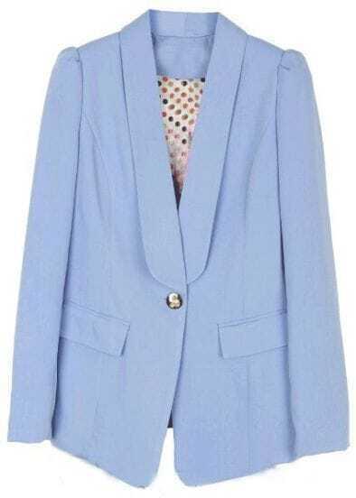 Light Blue Lapel Long Sleeve Pockets Suit
