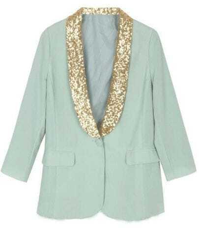 Light Green Contrast Collar Pockets Suit