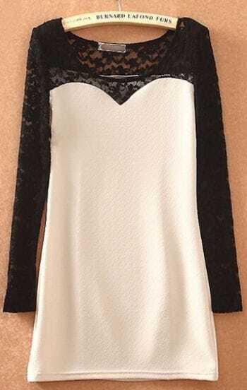 Beige Contrast Lace Long Sleeve Mid Waist Dress
