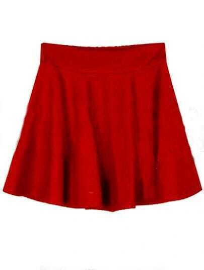 Red Pleated A Line Mini Skirt