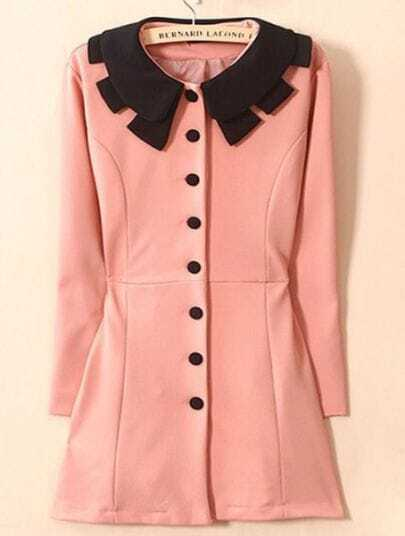 Pink Lapel Long Sleeve Single Breasted Trench Coat