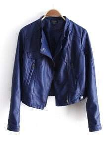 Blue Lapel Long Sleeve Zipper PU Leather Coat