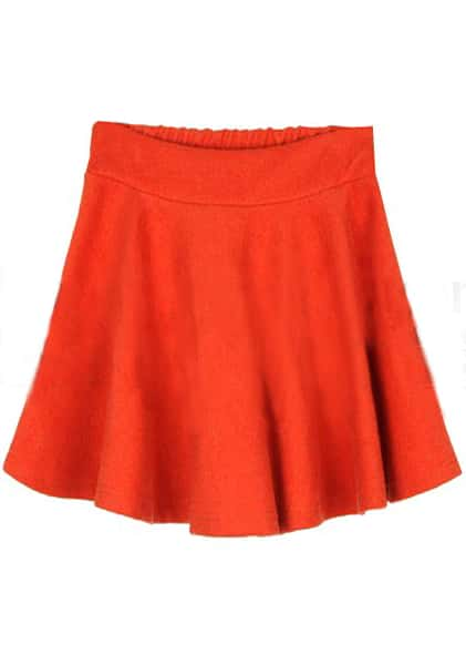 orange pleated a line mini skirt shein sheinside