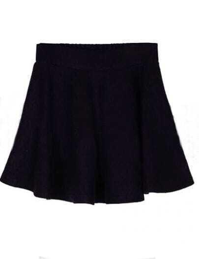 Navy Pleated A Line Mini Skirt