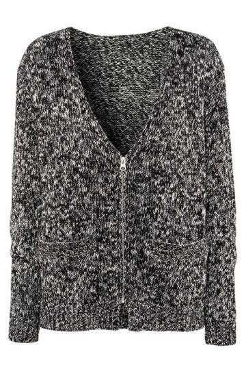Grey Long Sleeve Snowflake Zipper Cardigan Sweater