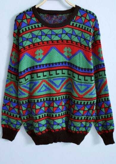 Green Long Sleeve Geometric Print Loose Sweater