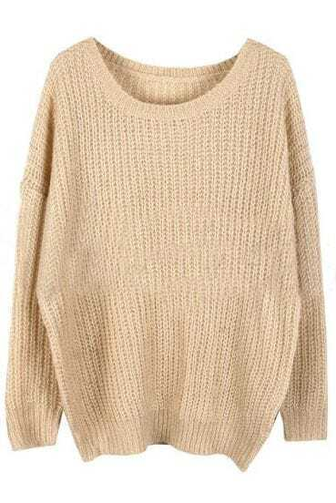 Beige Round Neck Long Sleeve Loose Sweater