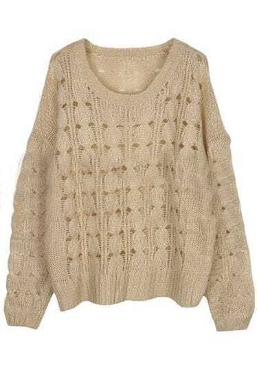 Beige Round Neck Batwing Long Sleeve Hollow Sweater