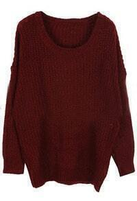 Wine Red Round Neck Long Sleeve Loose Sweater
