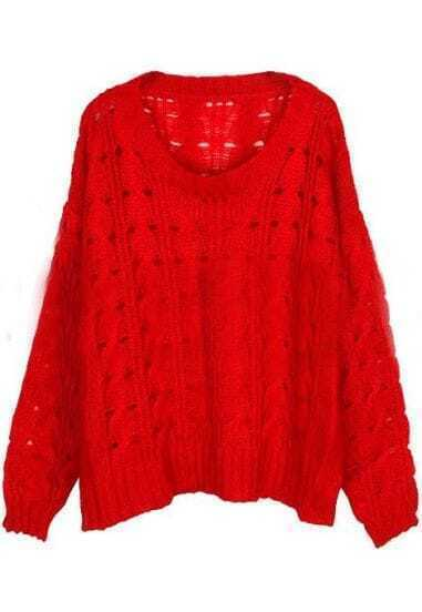 Red Round Neck Batwing Long Sleeve Hollow Sweater