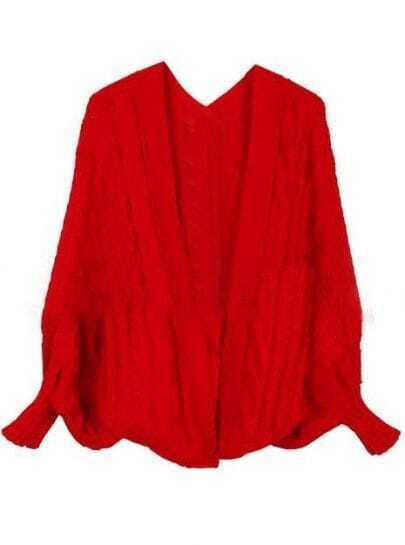 Red Batwing Long Sleeve Back Split Cardigan Sweater