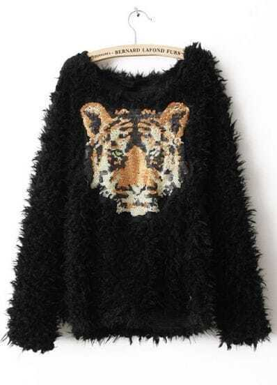 Black Long Sleeve Tiger Print Sequined Sweater