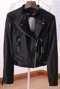 Black Long Sleeve Rivet Zipper Crop Leather Coat