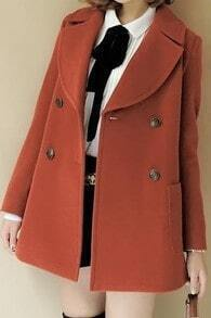Red Notch Lapel Long Sleeve Buttons Tweed Coat