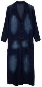 Dark Blue Long Sleeve Bleached Denim Dress
