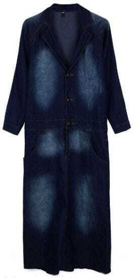 Dark Blue Long Sleeve Bleached Denim Dress