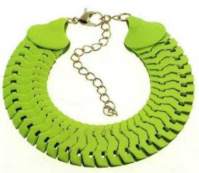 Green Interlocking Link Bracelet