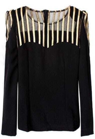 Black Contrast Gold Vertical Stripe Mesh Yoke T-Shirt