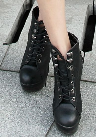 Black Lace Up Studded Embellished High Heel Ankle Boot