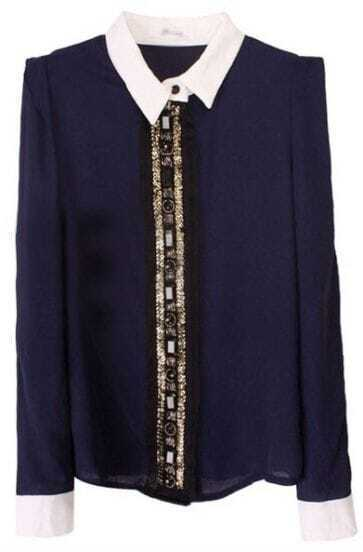 Navy Contrast Lapel Long Sleeve Beading Chiffon Blouse