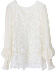 White Long Sleeve Lace Embroidery Chiffon Blouse