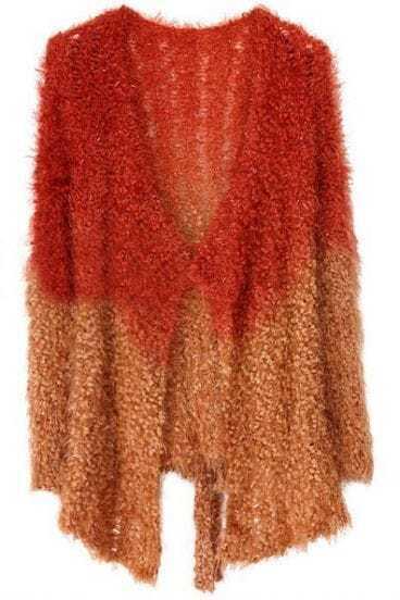 Orange Coffee Long Sleeve Drawstring Bow Cardigan Sweater