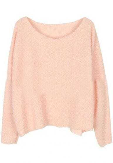 Pink Long Sleeve Plush Loose Pullovers Sweater