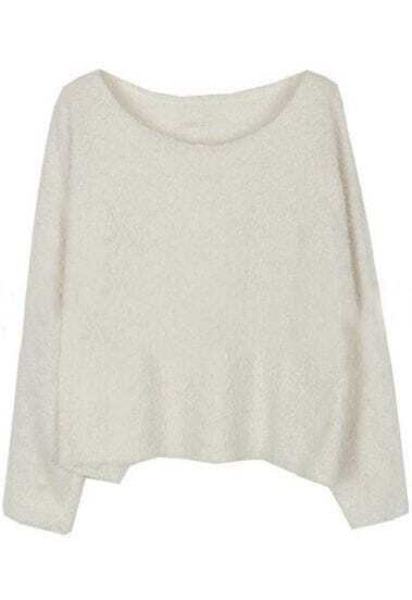 White Long Sleeve Plush Loose Pullovers Sweater