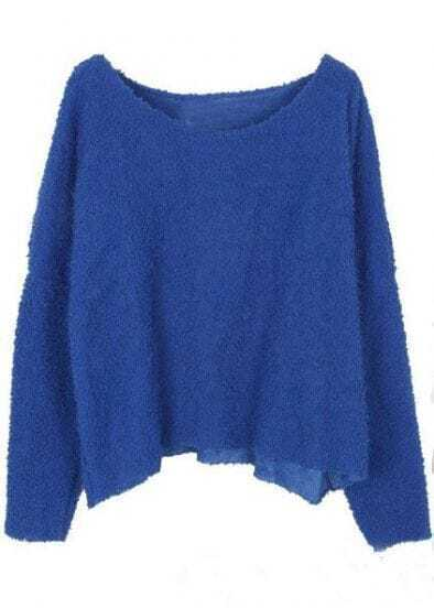 Blue Long Sleeve Plush Loose Pullovers Sweater