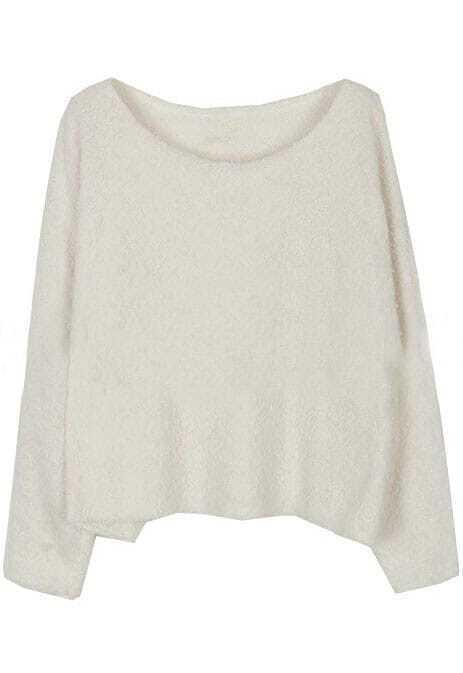 White Long Sleeve Plush Loose Pullovers Sweater -SheIn(Sheinside)