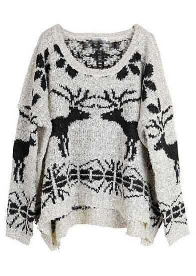 Beige Batwing Long Sleeve Deer Print Sweater