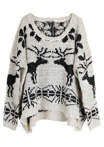 Beige Batwing Long Sleeve Deer Print Sweater