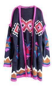 Navy Long Sleeve Contrast Trims Geometric Cardigan Sweater