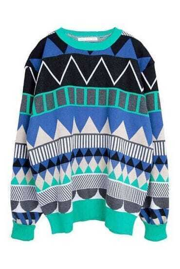 Green Long Sleeve Geometric Print Pullovers Sweater