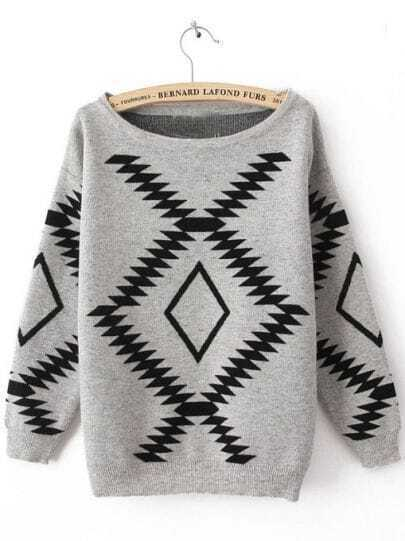 Grey Long Sleeve Geometric Print Pullovers Sweater