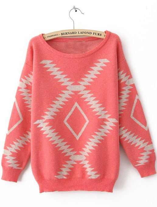 Pink Long Sleeve Geometric Print Pullovers Sweater -SheIn(Sheinside)