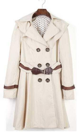 Apricot Drawstring Waist Shoulder Ruffles Trench Coat