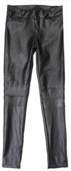 Black Skinny Low Waist Crop PU Leather Leggings