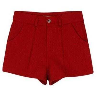 Wine Red Mid Waist Button Fly Tweed Shorts