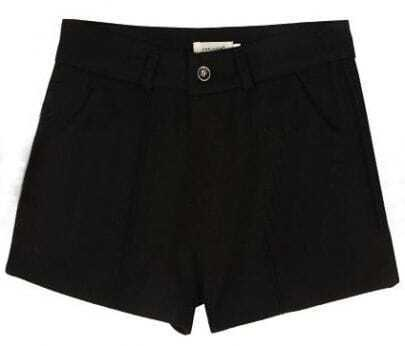 Black Mid Waist Button Fly Tweed Shorts