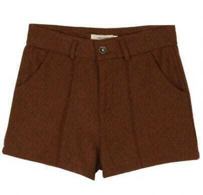 Brown Mid Waist Button Fly Tweed Shorts