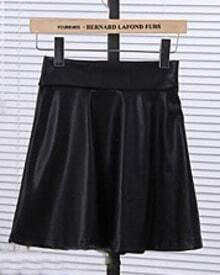 Black High Waist A Line Leather Skirt