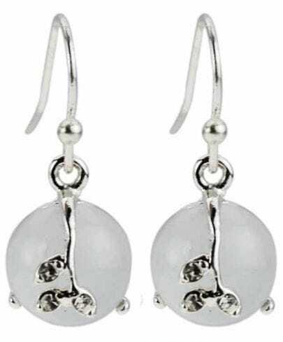 White Gemstone Silver Dangle Earrings